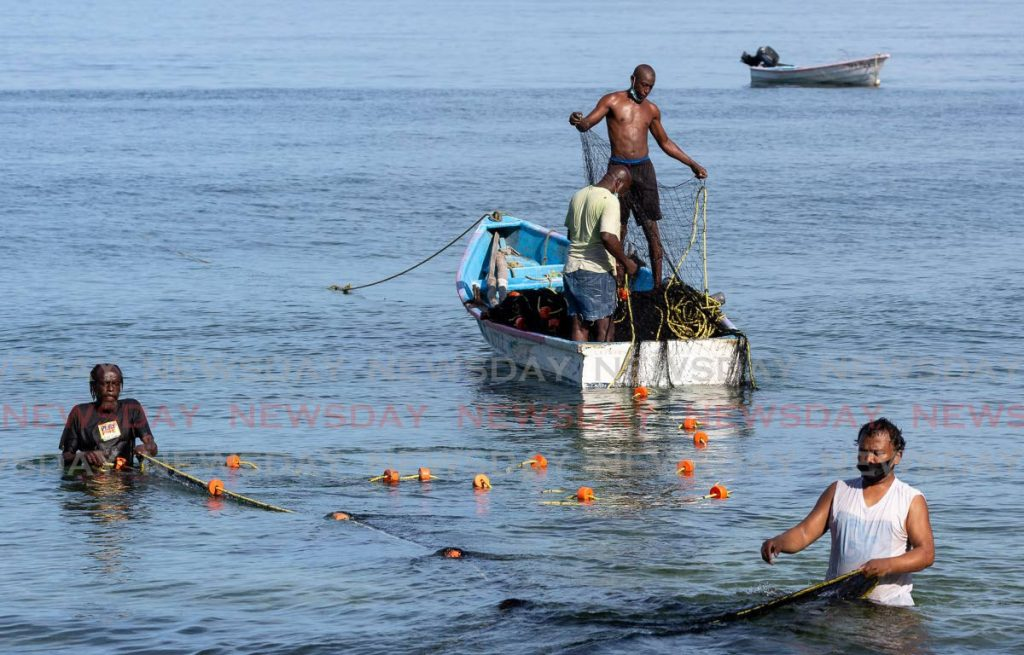 Fishermen of Grafton Village cast their nets off the coastline of Grafton Beach in Tobago. - David Reid