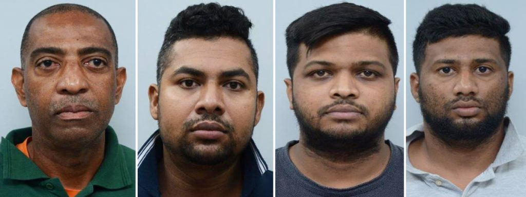 CHARGED: This composite photo shows from left, Insp Dean Antoine, PC Videsh Oudit, PC Vishal Heeralal and civilian Shane Heeralal who were charged following investigations into a racket involving the unlawful use of marked police vehicles to escort private commercial vehicles and heavy machinery for profit. PHOTO COURTESY TTPS