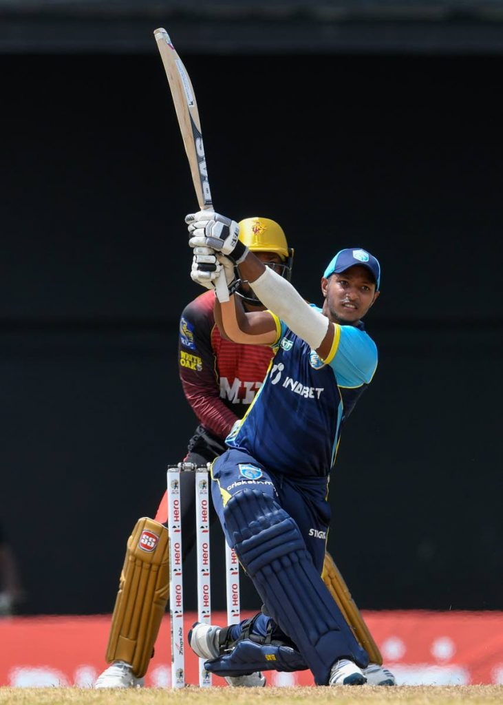 Mark Deyal of Saint Lucia Kings hits a six to bring up his half century during the 2021 Hero Caribbean Premier League Play-Off match 31 against Trinbago Knight Riders at Warner Park Sporting Complex onTuesday in Basseterre, St Kitts . - Photo courtesy CPL T20