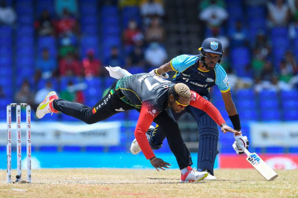 Fabian Allen (L) of Saint Kitts & Nevis Patriots and Roston Chase (R) of Saint Lucia Kings collide during the 2021 Hero Caribbean Premier League finalat Warner Park Sporting Complex on Wednesday, in Basseterre, Saint Kitts  - Photo courtesy CPL T20