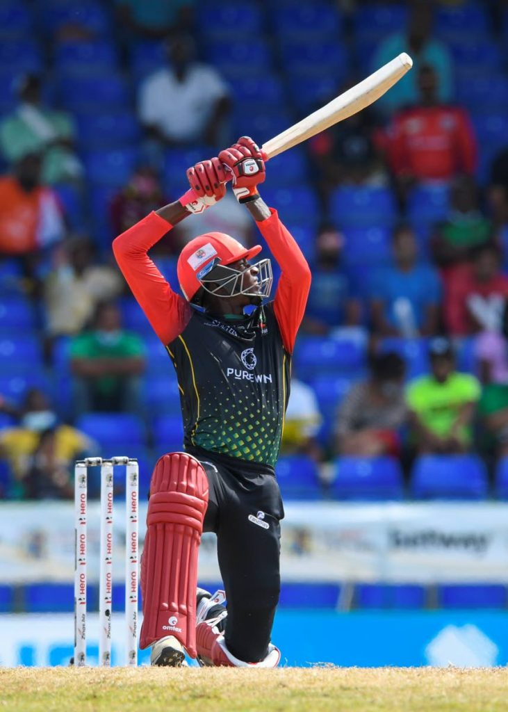 Domnic Drakes of Saint Kitts & Nevis Patriots hits a six during the 2021 Hero Caribbean Premier League final against the Saint Lucia Kings at Warner Park Sporting Complex on Wednesday in Basseterre, St Kitts  - Photo courtesy CPL T20