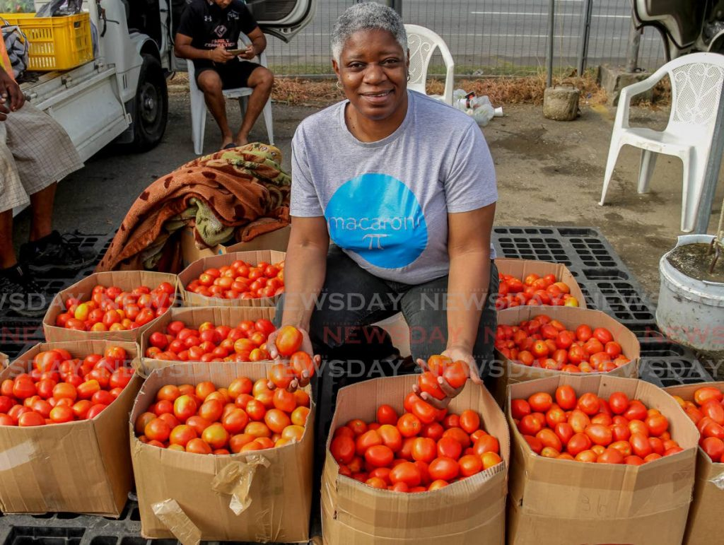 Vitamin rich tomatoes are checked out by Franka Philip who brings the experience of a good talk after a meal to her radio show, Around My Table. - PHOTO BY AYANNA KINSALE