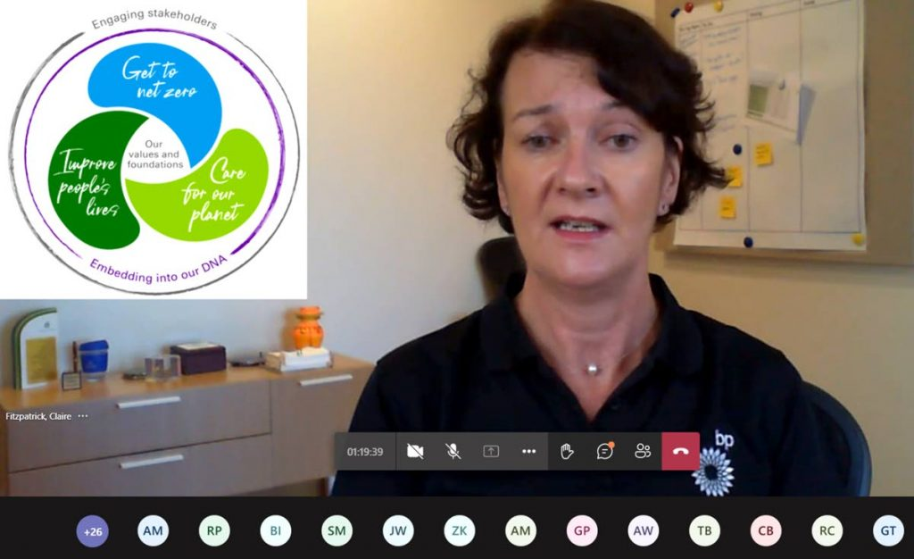 Claire Fitzpatrick, regional president,bpTT, explains their new sustainability framework during the online discussions with Mayaro stakeholders. -