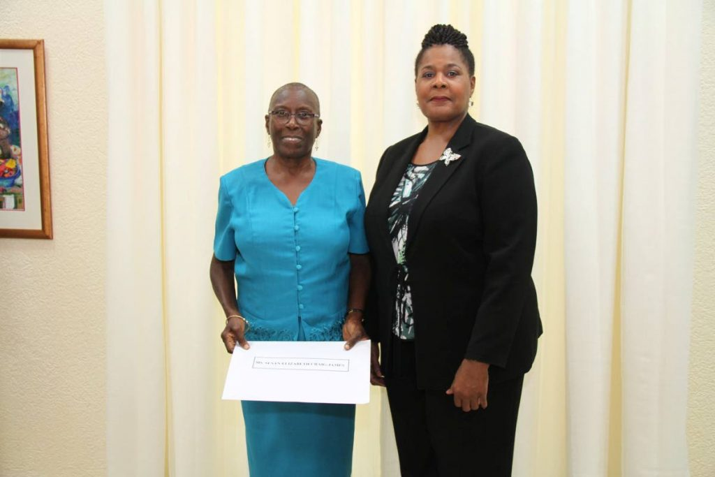 President Paula-Mae Weeks and Dr Susan Craig-James after her appointment as a member of the Police Service Commission on Friday June 8, 2018. Craig-James resigned from the commission on Saturday over an impasse on the suspension of acting police commissioner Gary Griffith. Photo: Office of the President -