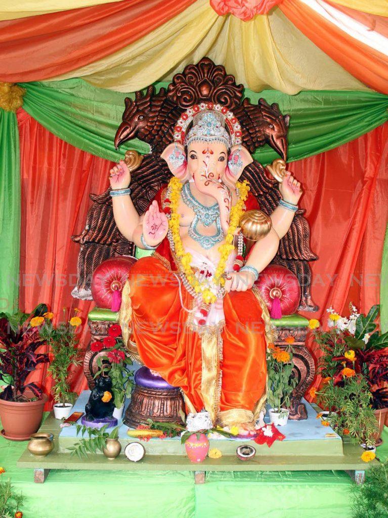 A Lord Ganesh murti at the Shiv Mandir at Wellington Road, Debe. File photo -