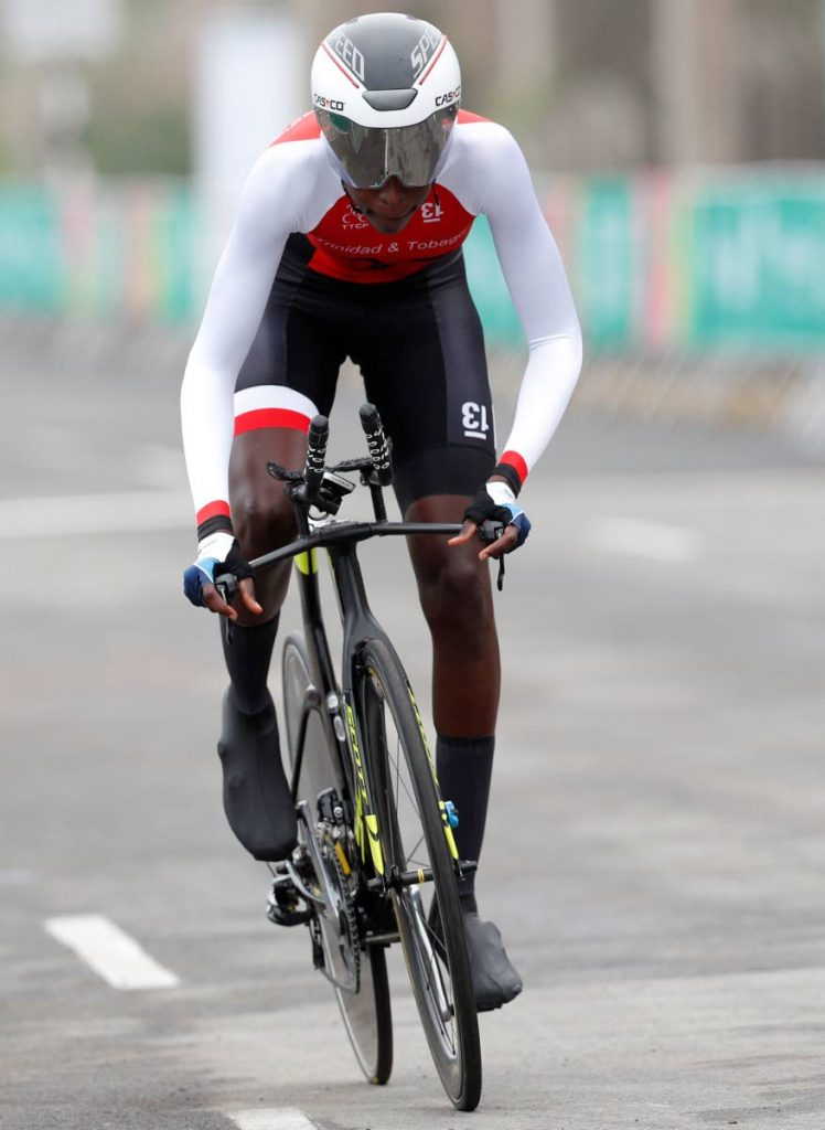 In this August 7, 2019 file photo, Teniel Campbell of Trinidad and Tobago competes in the women's road cycling individual time trial finals at the Pan American Games in Lima Peru. (AP Photo) -