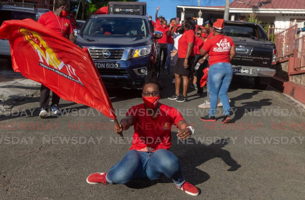 ON THE GROUND: PNM Tobago Council leader Tracy Davidson-Celestine and supporters on a walkabout in Plymouth in December 2020.  -