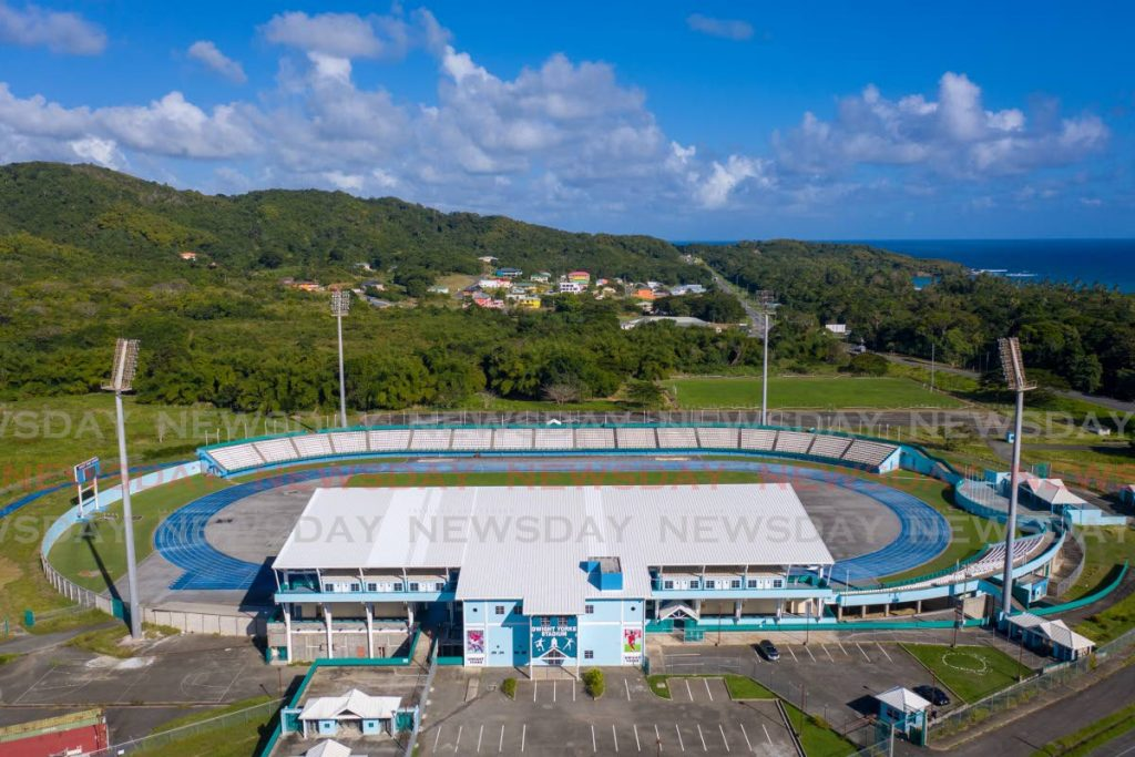 An aerial photograph of the Dwight Yorke Stadium, at Scarborough, Tobago.  - Photo by Jeff K. Mayers