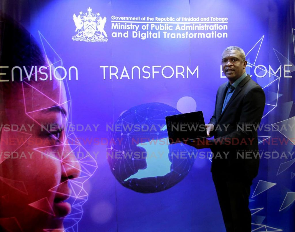 In this June 2, 2021 file photo, Hassel Bacchus leads a discussion hosted by the Ministry of Public Administration and Digital Transformation. In July, a separate ministry was created for digital transformation with Bacchus as the line minister. - File photo/Roger Jacob