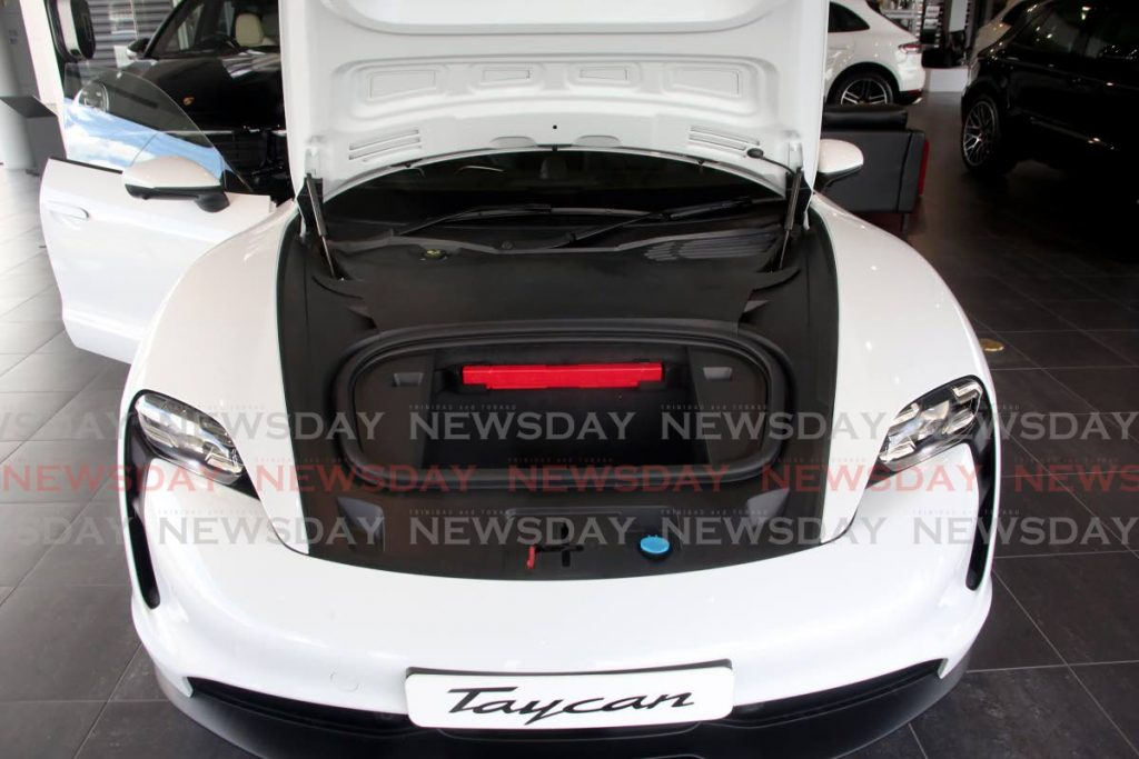This is what you see under the hood of the Porsche Taycan, an electric car. There is a tax incentive on the importation of electric cars now more than two years old. - File photo/Sureash Cholai