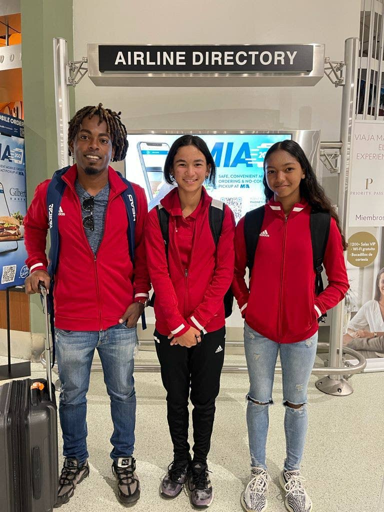 TT coach Jerome Ward, left, along with players Jordane Dookie and Cameron Wong. Dookie and Wong are representing TT in a tennis tournament in Mexico. -