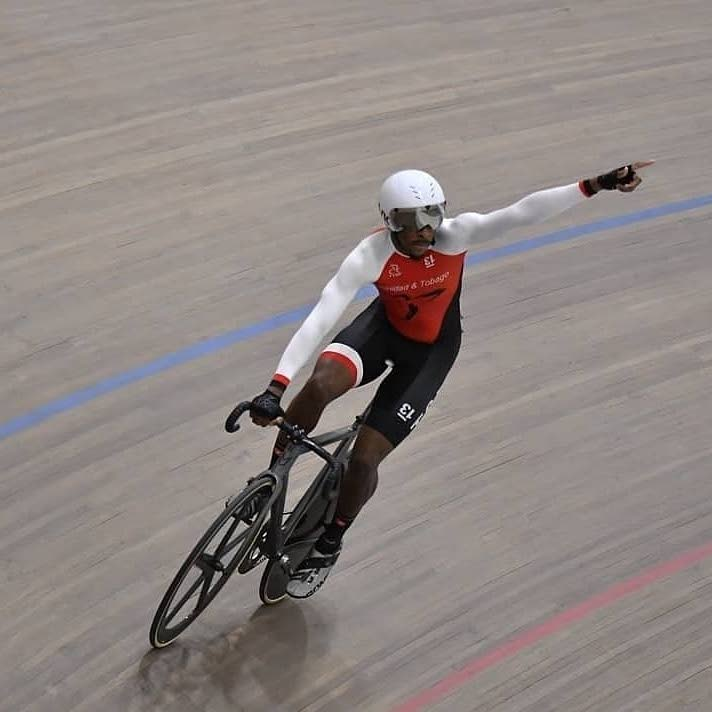 TT's Akil Campbell celebrates the capture of Trinidad and Tobago's first-ever endurance medal at the Pan American Track Cycling Championships recently.  -