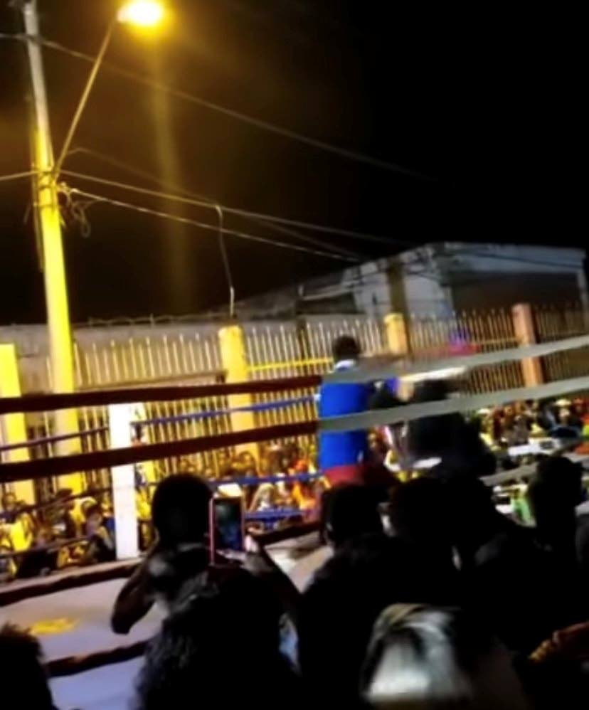 A screengrab from a video that went viral on social media over the weekend which showed unsanctioned boxing happening in Port of Spain. -