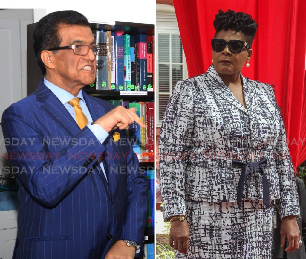 QUESTIONS TO ANSWER: This composite photo shows former police commissioner Gary Griffith's lead attorney Ramesh Lawrence Maharaj, SC, and President Paula-Mae Weekes who Maharaj says must say why she failed to forward a list of nominees for the post of police commissioner, which she received on August 12, to the Parliament.  - File Photos