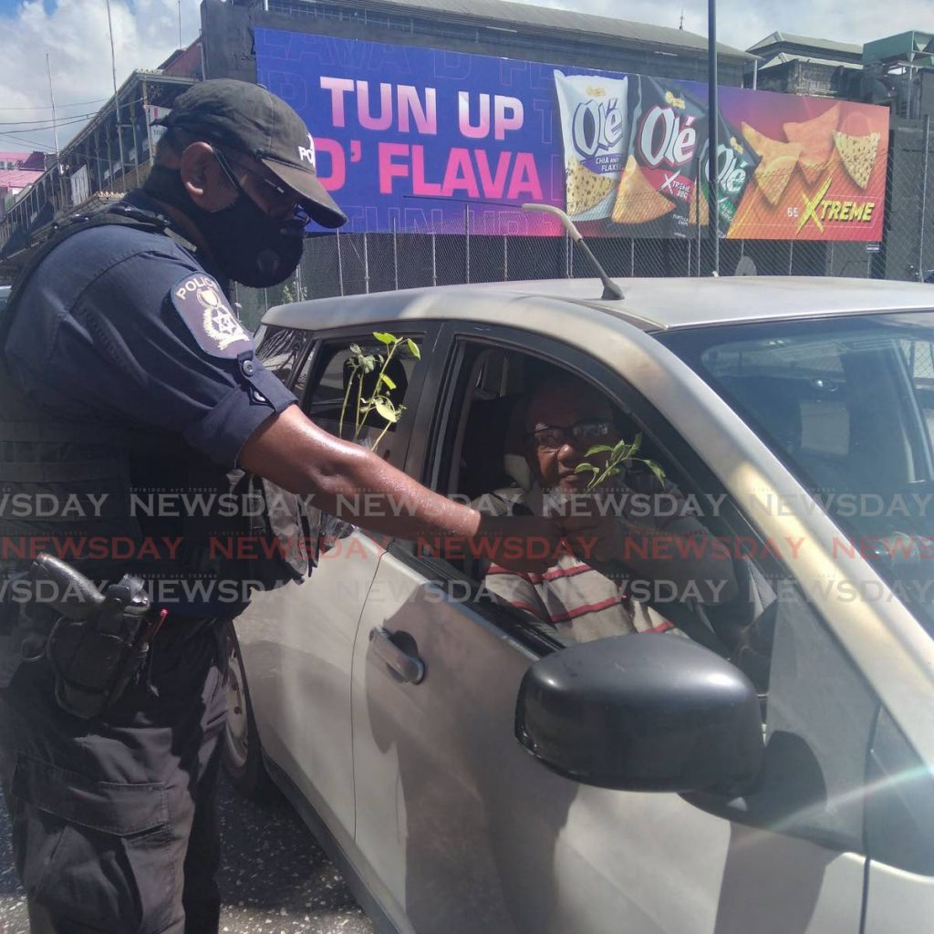 Cpl Mohan of the Central Police Station, left, gives a plant to a driver on Frederick Street, Port of Spain on Saturday morning.  The initiative which was led by Insp Ramesh Soodeen seeks to encourage citizens to take an interest in agriculture while strengthening ties with the community.  - Photo by Shane Superville