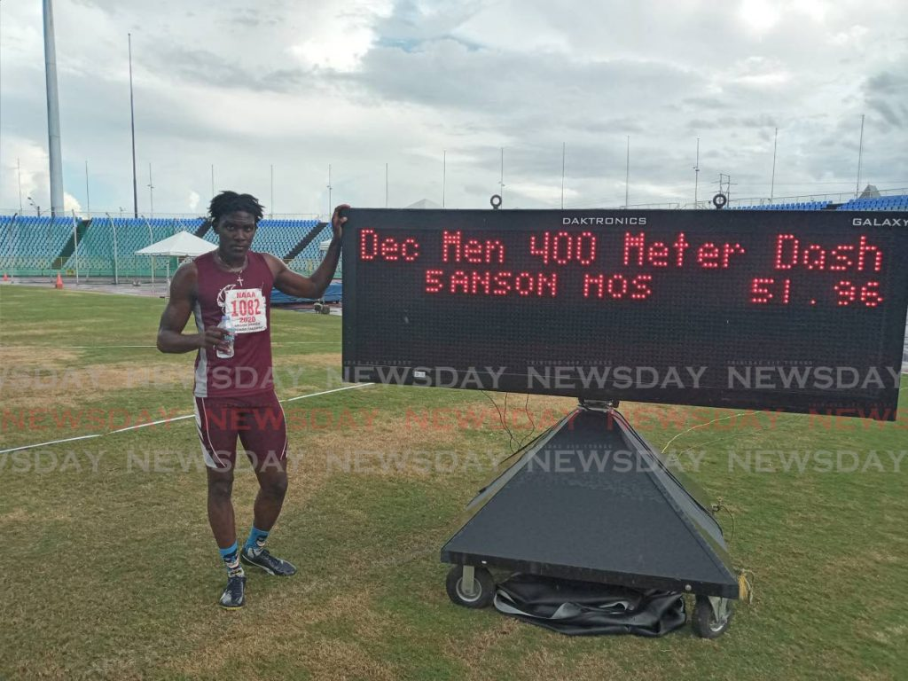 Anson Moses of Tobago Falcons after competing in the 400m event of the men's decathlon at the National Association of Athletics Administrations Pan American Under-20 and Under-23 Preparation Meet at the Hasely Crawford Stadium, on Saturday - Jelani Beckles