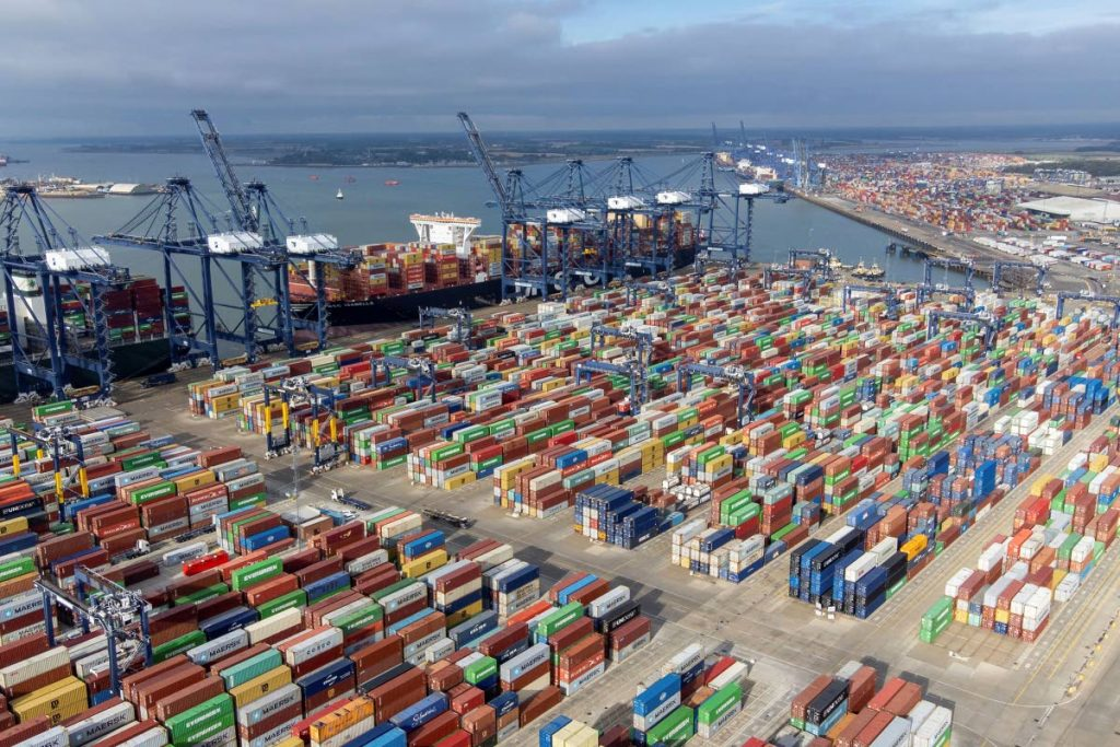 Thousands of shipping containers at the Port of Felixstowe, south east England, on October 13, 2021. A logjam at the UK's busiest commercial port ratcheted up concerns that the country could see an array of shortages in the crucial Christmas trading period, including of toys and food.  - AP PHOTO