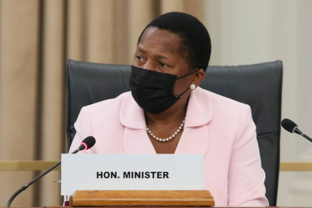 Pennelope Beckles in Parliament during a sitting of the Standing Finance Committee on Tuesday. PHOTO COURTESY PARLIAMENT OF TT -